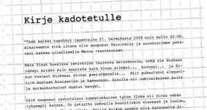 Letter to the Lost One from Helsingin Sanomat